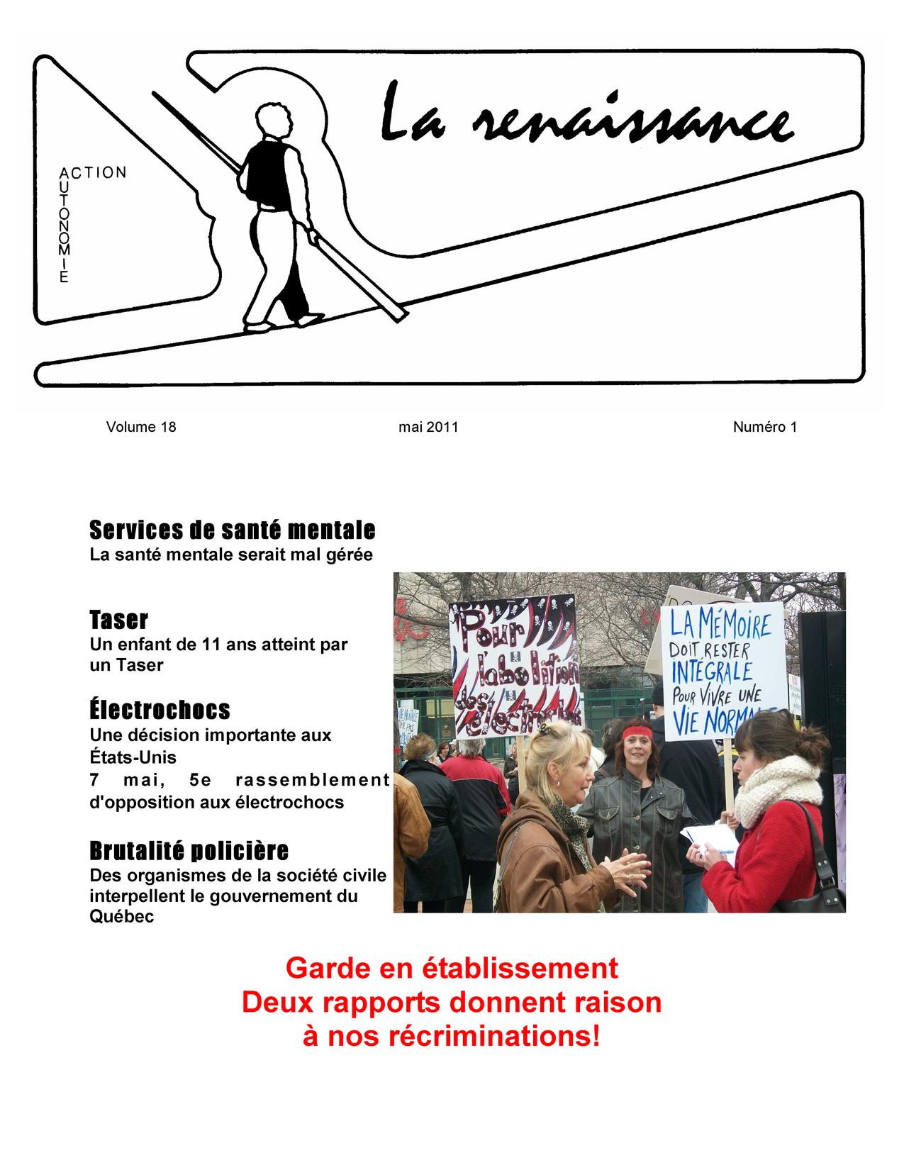 La Renaissance - Mai 2010 - volume 18 numéro 1.