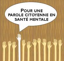 Mains levées pour une parole citoyenne en santé mentale.