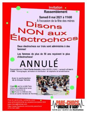 rassemblement contre les électrochocs annulé