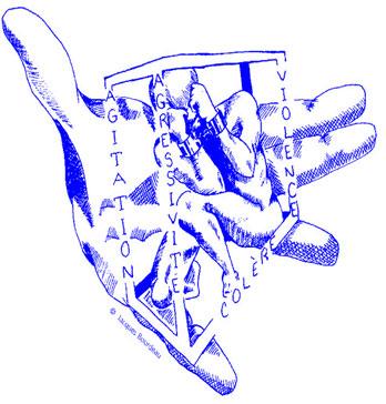 Illustration: Une personne est captive dans une cage entourée d'une main géante.